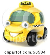 Royalty Free RF Clipart Illustration Of A 3d Yellow Taxi Cab Character Car Version 1 by Julos