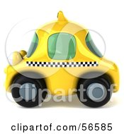 3d Yellow Taxi Cab Character Car - Version 2