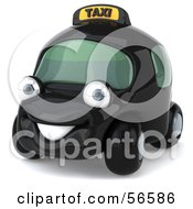 Royalty Free RF Clipart Illustration Of A 3d Black Taxi Cab Character Car Version 1 by Julos