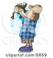 Boy Holding And Looking At A Wild Green Frog In His Hands Clipart Illustration
