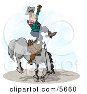 Bareback Bronc Riding At A Rodeo Competition Clipart Illustration