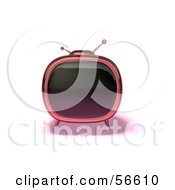 Royalty Free RF Clipart Illustration Of A 3d Pink Square Shaped Retro Television Version 5 by Julos