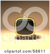 Royalty Free RF Clipart Illustration Of A 3d Gold Square Shaped Retro Television Version 1 by Julos