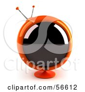 Royalty Free RF Clipart Illustration Of A 3d Orange Round Retro Television Version 1 by Julos