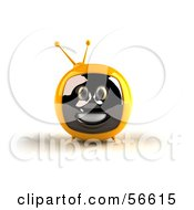 Royalty Free RF Clipart Illustration Of A 3d Yellow Smiling Television Face Character Version 1 by Julos