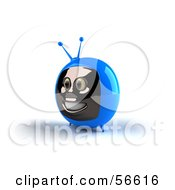 Royalty Free RF Clipart Illustration Of A 3d Blue Smiling Television Face Character Version 2