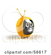 Royalty Free RF Clipart Illustration Of A 3d Yellow Smiling Television Face Character Version 3