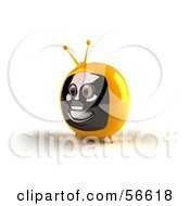 Royalty Free RF Clipart Illustration Of A 3d Yellow Smiling Television Face Character Version 2
