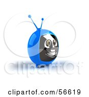 Royalty Free RF Clipart Illustration Of A 3d Blue Smiling Television Face Character Version 3