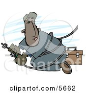Mexican Repairman Working With Cable Wires Clipart Illustration