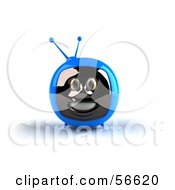 Royalty Free RF Clipart Illustration Of A 3d Blue Smiling Television Face Character Version 1 by Julos