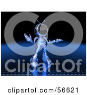 Royalty Free RF Clipart Illustration Of A 3d Tele Robot Character Shrugging Version 2 by Julos