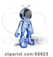 Royalty Free RF Clipart Illustration Of A 3d Tele Robot Character Standing And Facing Right Version 1 by Julos
