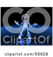 Royalty Free RF Clipart Illustration Of A 3d Tele Robot Character Shrugging Version 1 by Julos