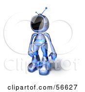Royalty Free RF Clipart Illustration Of A 3d Tele Robot Character Standing And Facing Left Version 1 by Julos