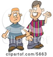 Two School Bullies Picking A Fight Clipart Illustration