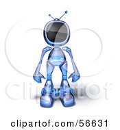 Royalty Free RF Clipart Illustration Of A 3d Tele Robot Character Standing And Facing Front Version 4 by Julos
