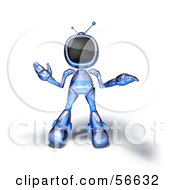 Royalty Free RF Clipart Illustration Of A 3d Tele Robot Character Shrugging Version 4 by Julos