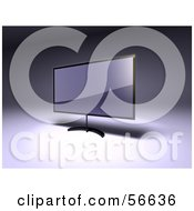 Royalty Free RF Clipart Illustration Of A 3d Slim Flat Panel Plasma Television On A Raised Mount Version 2
