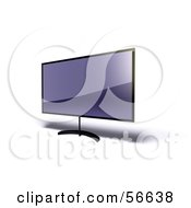 Royalty Free RF Clipart Illustration Of A 3d Slim Flat Panel Plasma Television On A Raised Mount Version 7