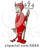Man Wearing A Devil Costume With A Pitchfork Clipart Illustration