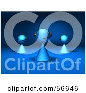 Royalty Free RF Clipart Illustration Of A Group Of Three 3d Blue Avatar Customer Service People Version 2