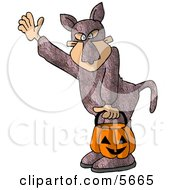 Boy Wearing A Bunny Suit While Trick Or Treating Clipart Illustration