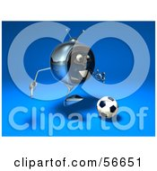 Royalty Free RF Clipart Illustration Of A 3d Chrome Tv Character Playing Soccer Version 2