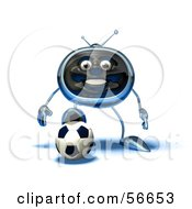 Royalty Free RF Clipart Illustration Of A 3d Chrome Tv Character Playing Soccer Version 14