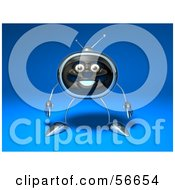 Royalty Free RF Clipart Illustration Of A 3d Chrome Tv Character Standing And Facing Front Version 2