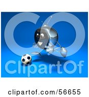Royalty Free RF Clipart Illustration Of A 3d Chrome Tv Character Playing Soccer Version 3