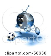 Royalty Free RF Clipart Illustration Of A 3d Chrome Tv Character Playing Soccer Version 11