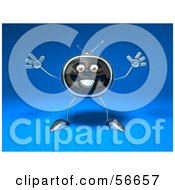 Royalty Free RF Clipart Illustration Of A 3d Chrome Tv Character Holding His Arms Open Version 1