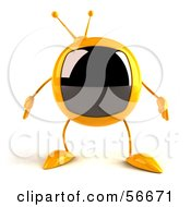 Royalty Free RF Clipart Illustration Of A 3d Yellow Square Tele Character Facing Front Version 1 by Julos