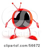 Royalty Free RF Clipart Illustration Of A 3d Red Square Tele Character Facing Front by Julos