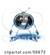 Royalty Free RF Clipart Illustration Of A 3d Chrome Tv Character Standing And Facing Front Version 1 by Julos