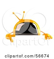 Royalty Free RF Clipart Illustration Of A 3d Yellow Square Tele Character Pointing Down And Standing Behind A Blank Sign by Julos