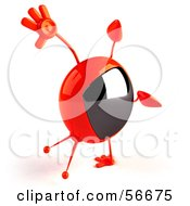 Royalty Free RF Clipart Illustration Of A 3d Red Square Tele Character Doing A Cartwheel Version 2 by Julos