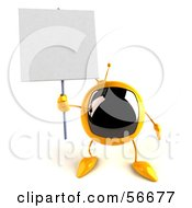 Royalty Free RF Clipart Illustration Of A 3d Yellow Square Tele Character Holding Up A Blank Sign Version 3 by Julos