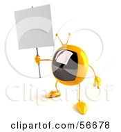 Royalty Free RF Clipart Illustration Of A 3d Yellow Square Tele Character Holding Up A Blank Sign Version 4 by Julos