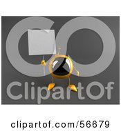 Royalty Free RF Clipart Illustration Of A 3d Yellow Square Tele Character Holding Up A Blank Sign Version 1 by Julos