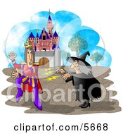 Wicked Witch Casting A Spell On A King Clipart Illustration