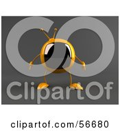 Royalty Free RF Clipart Illustration Of A 3d Yellow Square Tele Character Facing Front Version 2 by Julos