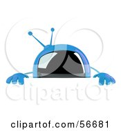 Royalty Free RF Clipart Illustration Of A 3d Blue Square Tele Character Standing Behind A Blank Sign by Julos