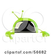3d Green Square Tele Character Pointing Down And Standing Behind A Blank Sign by Julos