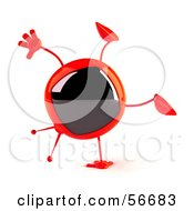 Royalty Free RF Clipart Illustration Of A 3d Red Square Tele Character Doing A Cartwheel Version 1 by Julos