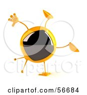 Royalty Free RF Clipart Illustration Of A 3d Yellow Square Tele Character Doing A Cartwheel Version 1 by Julos