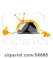 Royalty Free RF Clipart Illustration Of A 3d Yellow Square Tele Character Giving The Thumbs Up And Standing Behind A Blank Sign by Julos