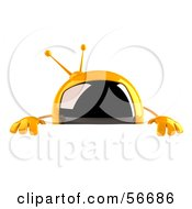 Royalty Free RF Clipart Illustration Of A 3d Yellow Square Tele Character Standing Behind A Blank Sign by Julos