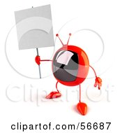 Royalty Free RF Clipart Illustration Of A 3d Red Square Tele Character Holding Up A Blank Sign Version 1 by Julos